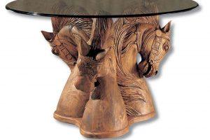 mesa rustica madera redonda comedor