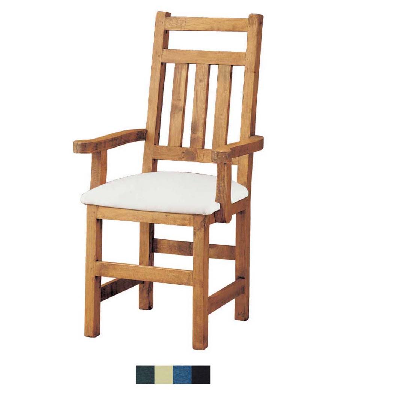 Silla r stica con brazos de madera de pino macizo tapizado for Sillas salon tapizadas