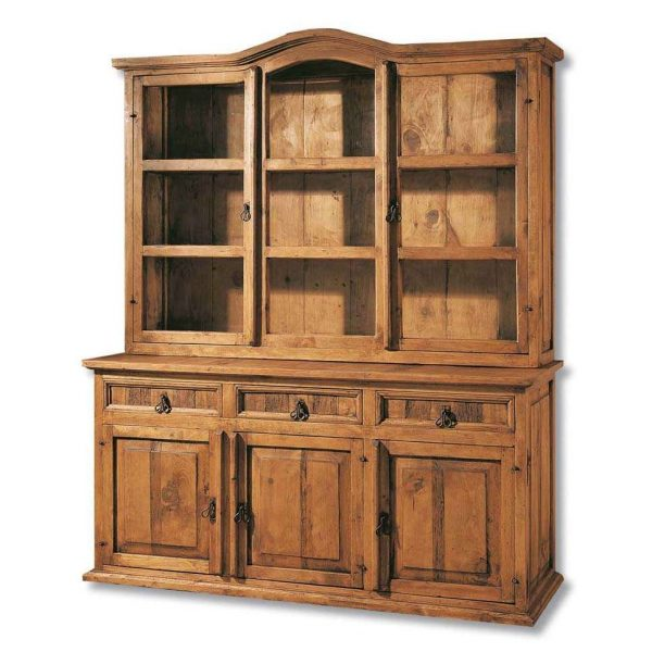 vitrina rústica de madera maciza