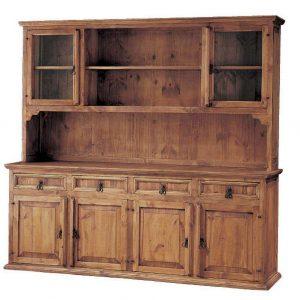 vitrina rústica de madera amplia