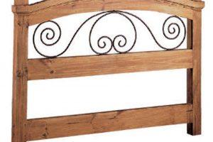 cabecero madera y forja
