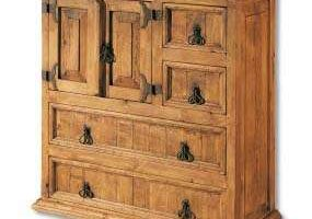comoda rustica de madera maciza de pino