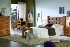 dormitorio de madera rústica