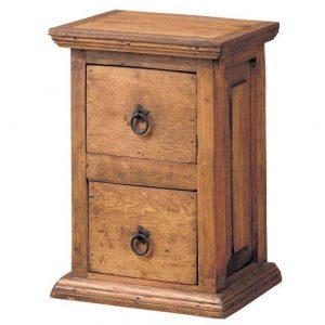 comoda de madera vertical 2 cajones