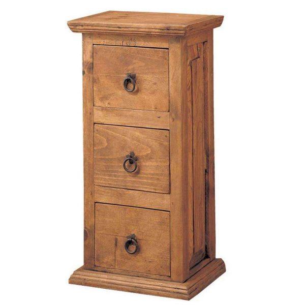 comoda de madera vertical 3 cajones