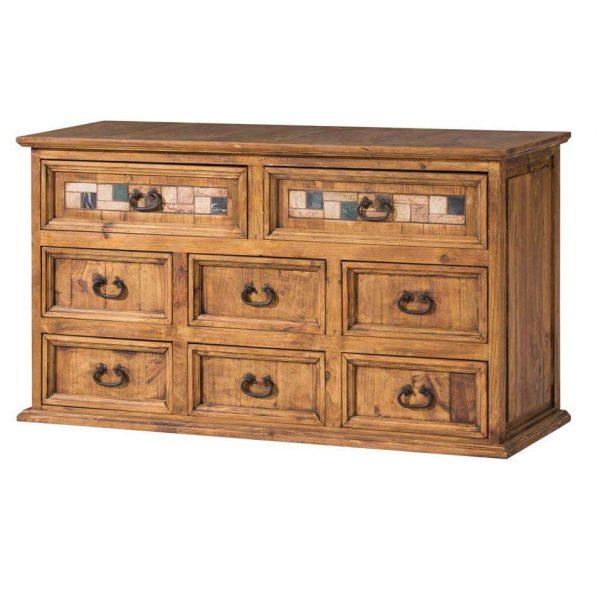 comoda rustica de madera 8 cajones