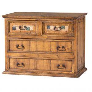 comoda de madera maciza y marmol