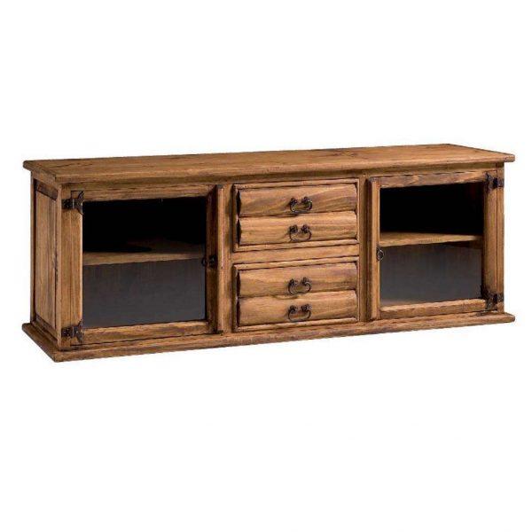comoda de madera rustica 4 cajones