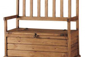 banco de madera maciza con arcón