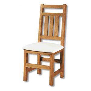 silla de comedor rústica tapizada con barras respaldo vertical